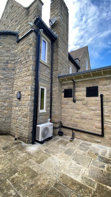 Air conditioning unit outside house